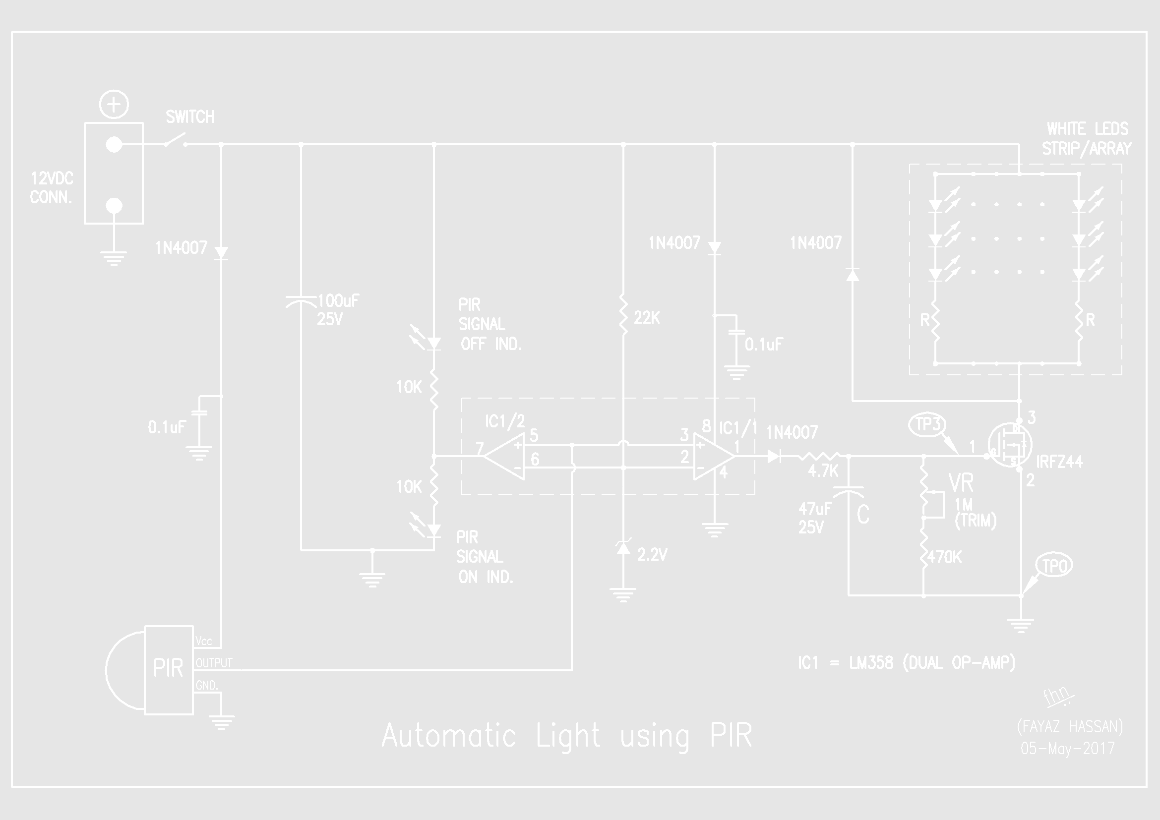 if, any human motion is observed by the pir again, it sends high signal to  op-amp, charges capacitor c and switches on the led strip/array through  mosfet